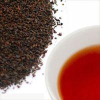ファイブオクロックティーの茶葉と水色の写真