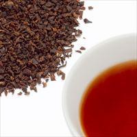 ロンドンブレックファーストティーの茶葉と水色の写真
